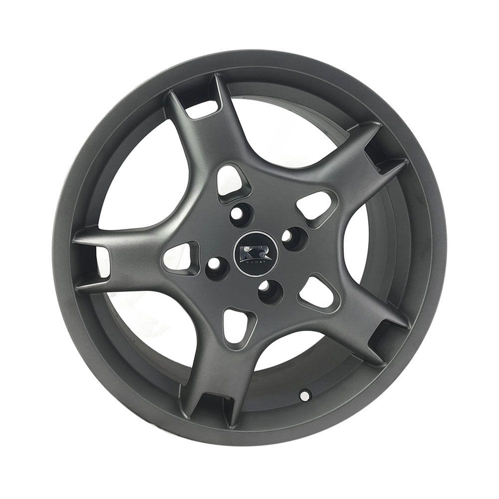 """Jogo 4 rodas KR R-85 Porsche aro 17"""" furação 4X100 acabamento grafite fosco tala 7 ET 40"""
