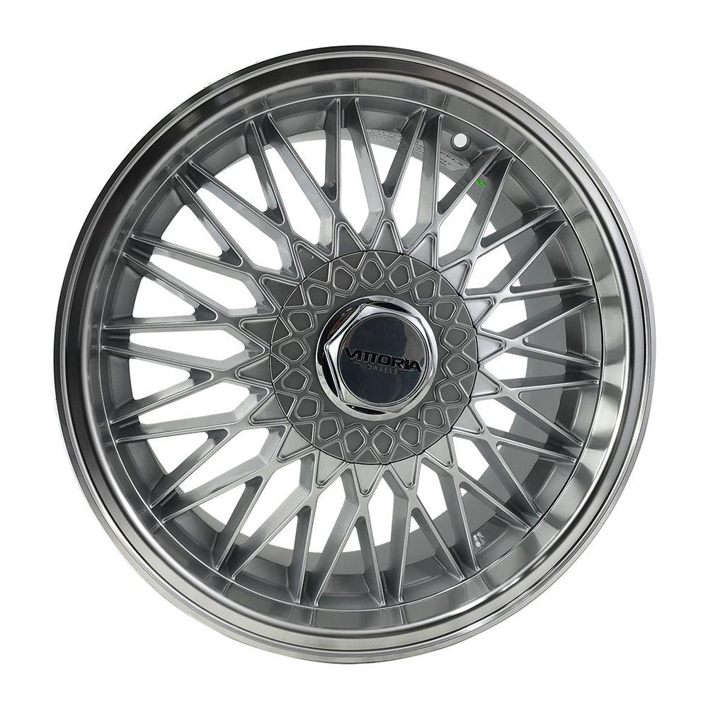 """Jogo 4 rodas Vittoria BBS aro 17"""" furação 4x100/4x108 acabamento hiper prata com borda diamantada tala 7,5 ET 35"""