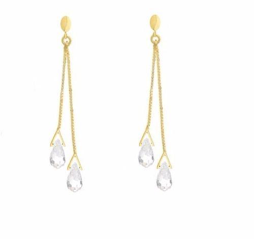 68eef685440c2 Brinco De Ouro 18k Pendurado Veneziana Cristal - Viagold F97 - VIAGOLD  JOIAS ...