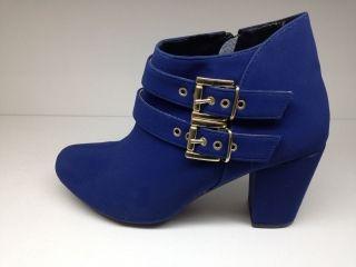 Bota Feminina Cano Curto Em Couro  camurça azul