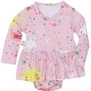 Body vestido bebê manga longa céu rosa