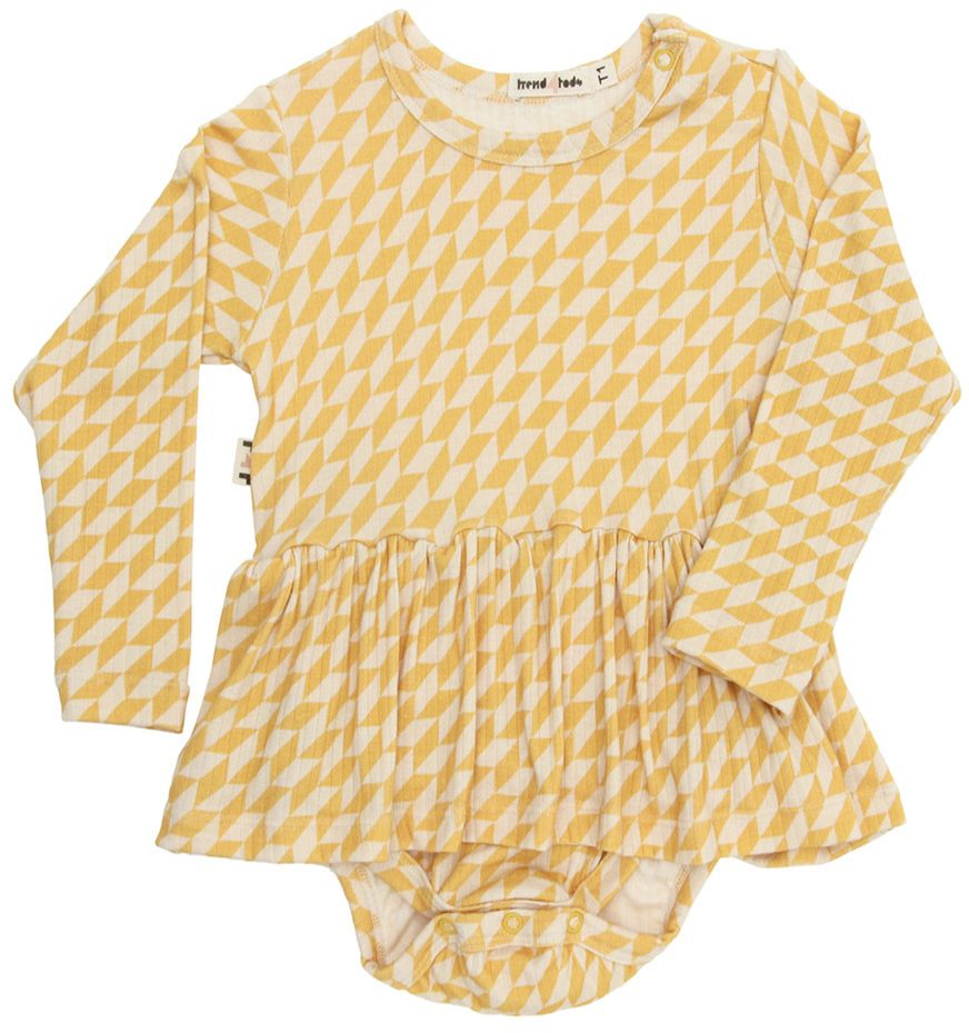 Body vestido bebê manga longa amarelo geométrico