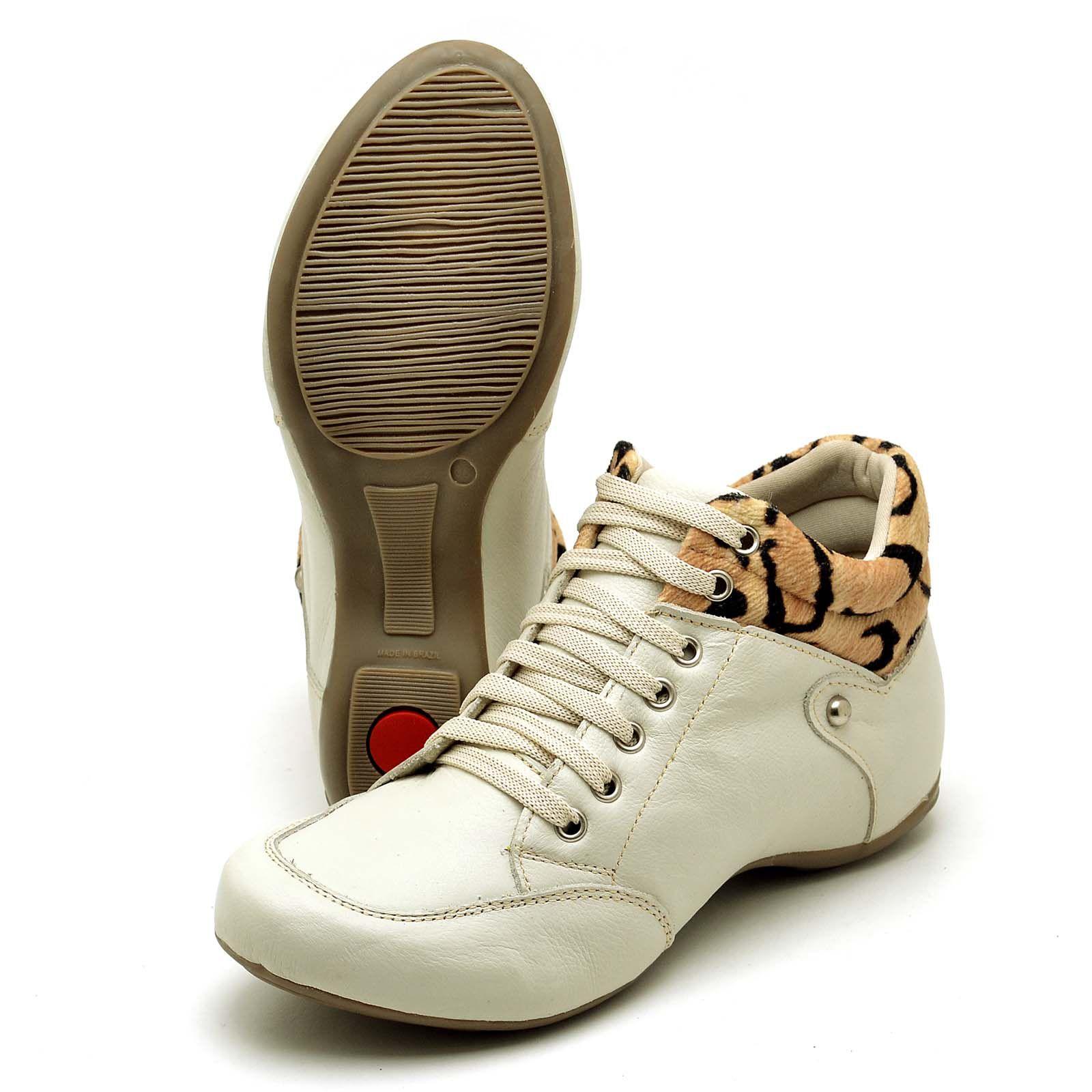 Bota Sport Clube do Sapato de Franca Top Confort Nude/Onça