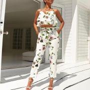 Strap Floral Tops Harness + Cropped Pantsuit Moda Verão