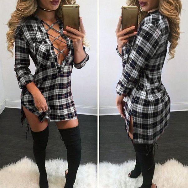 Blusa Xadrez Comprida Sexy - Moda Verão/Outono