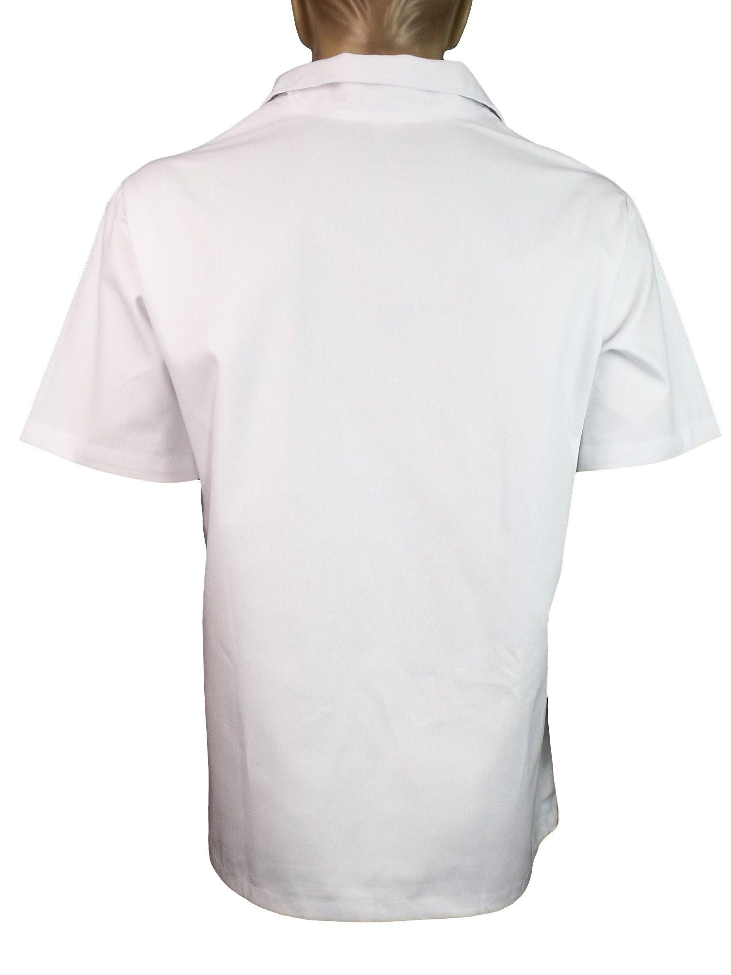 10a945ffdea4d Camisa Gola Italiana Manga Curta em Brim Profissional Branco - Dr ...