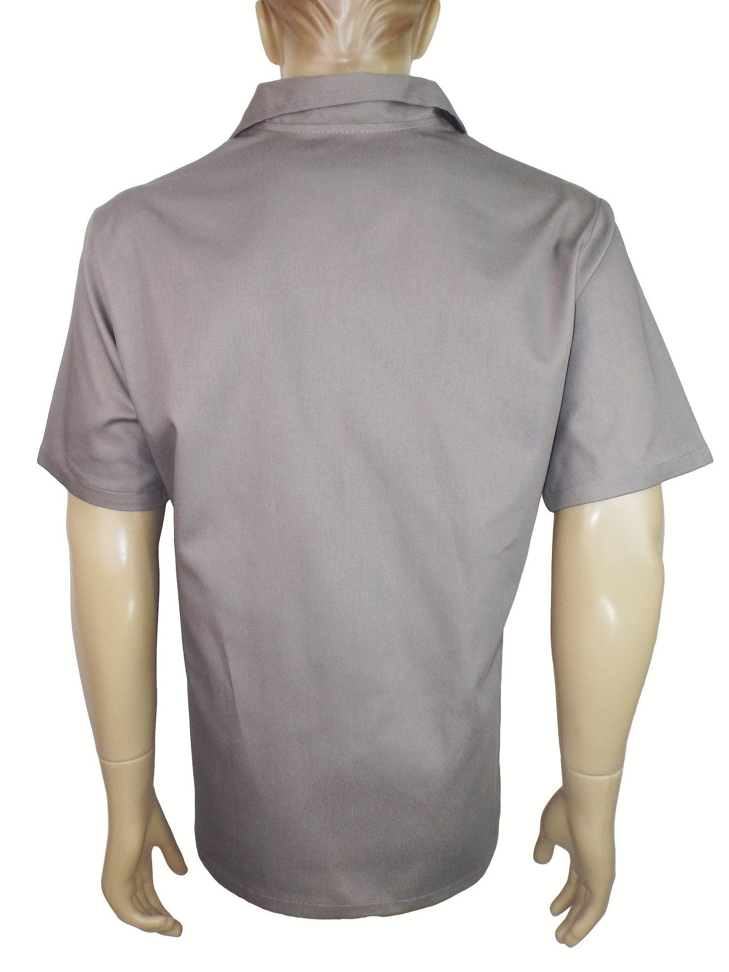 d4050df438f53 Camisa Gola Italiana Manga Curta em Brim Profissional Cinza - Dr EPI ...