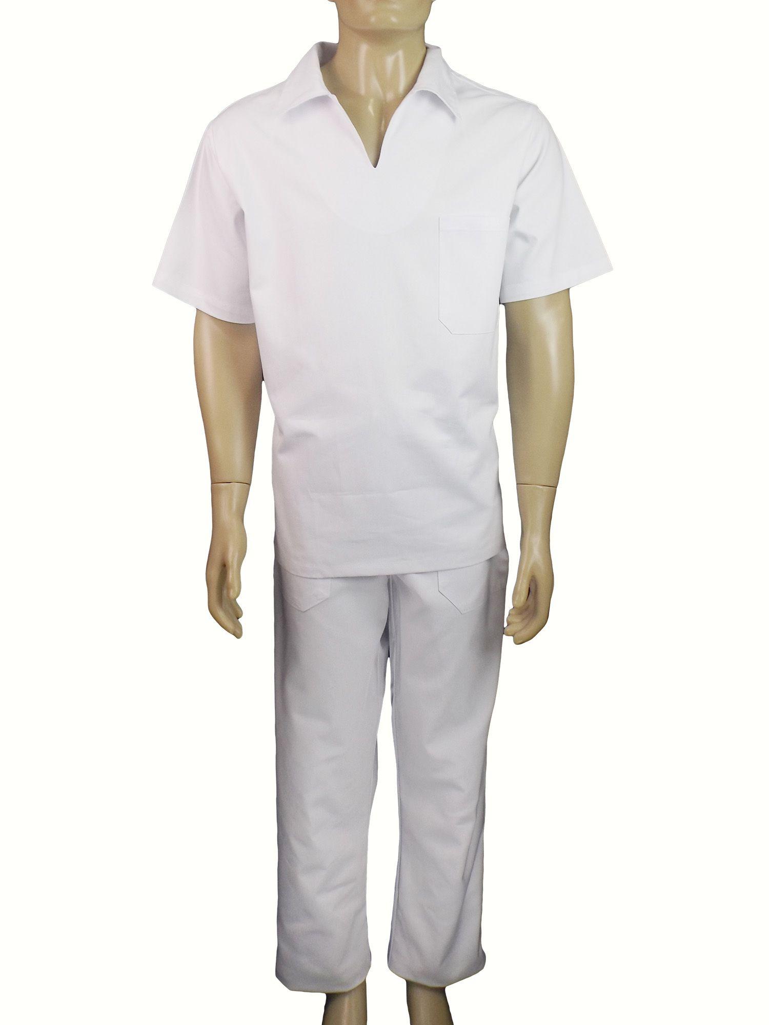 4f871a2a77 Uniforme Conjunto Brim Branco - Camisa Gola Italiana e Calça - Dr ...