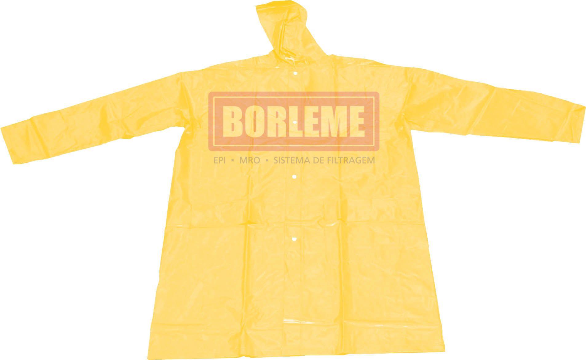 Capa de Chuva Amarela em PVC Forrada - Tamanho GG