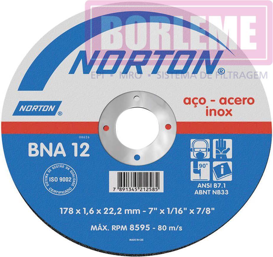 """Disco de Corte Aço 7"""" x 1/16"""" x 7/8"""" BNA12"""