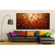 Quadro Pintura Tela Arvores e Flores Modernas Em Altos Relevos Cod 2166