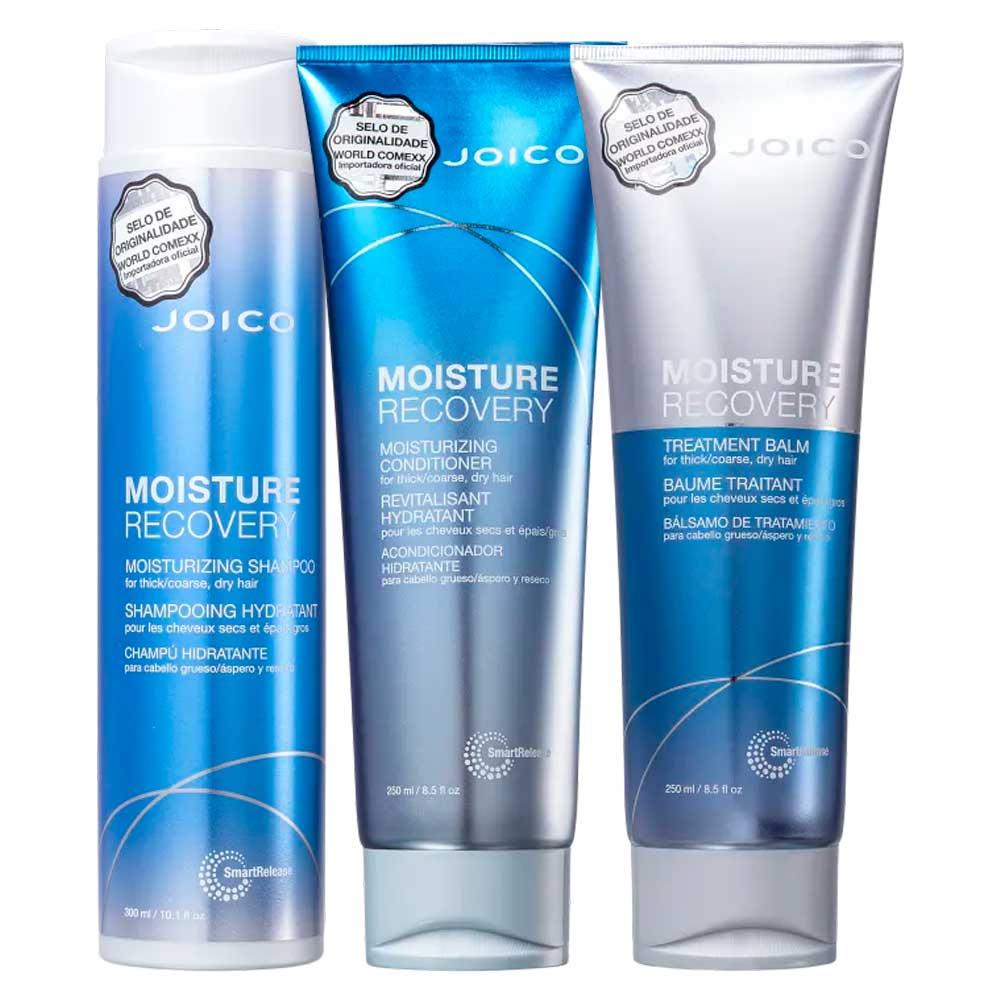 Kit Joico: Shampoo + Condicionador + Balm Moisture Recovery Pequeno