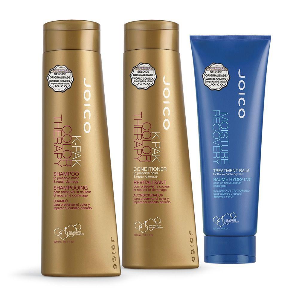Kit Joico: Shampoo + Condicionador K-Pak Color Therapy 300 ml + Máscara Moisture Recovery 250ml