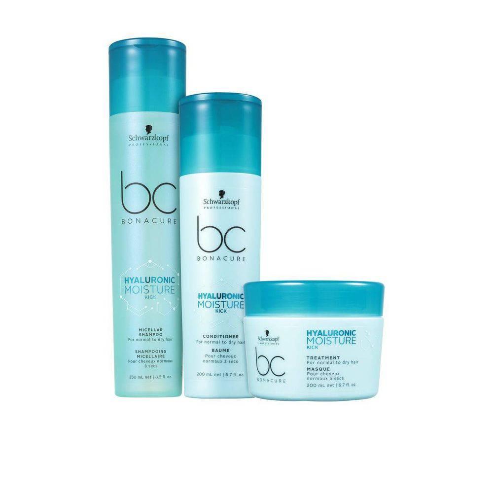 Kit Shampoo Condicionador E Máscara Moisture Kick Bc Hyaluronic Schwarzkopf Professional
