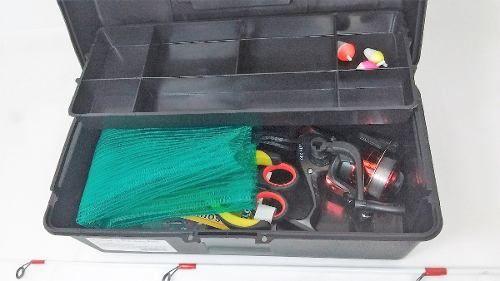Kit De Pesca Completo Vara Molinete Maleta Isca Promoção