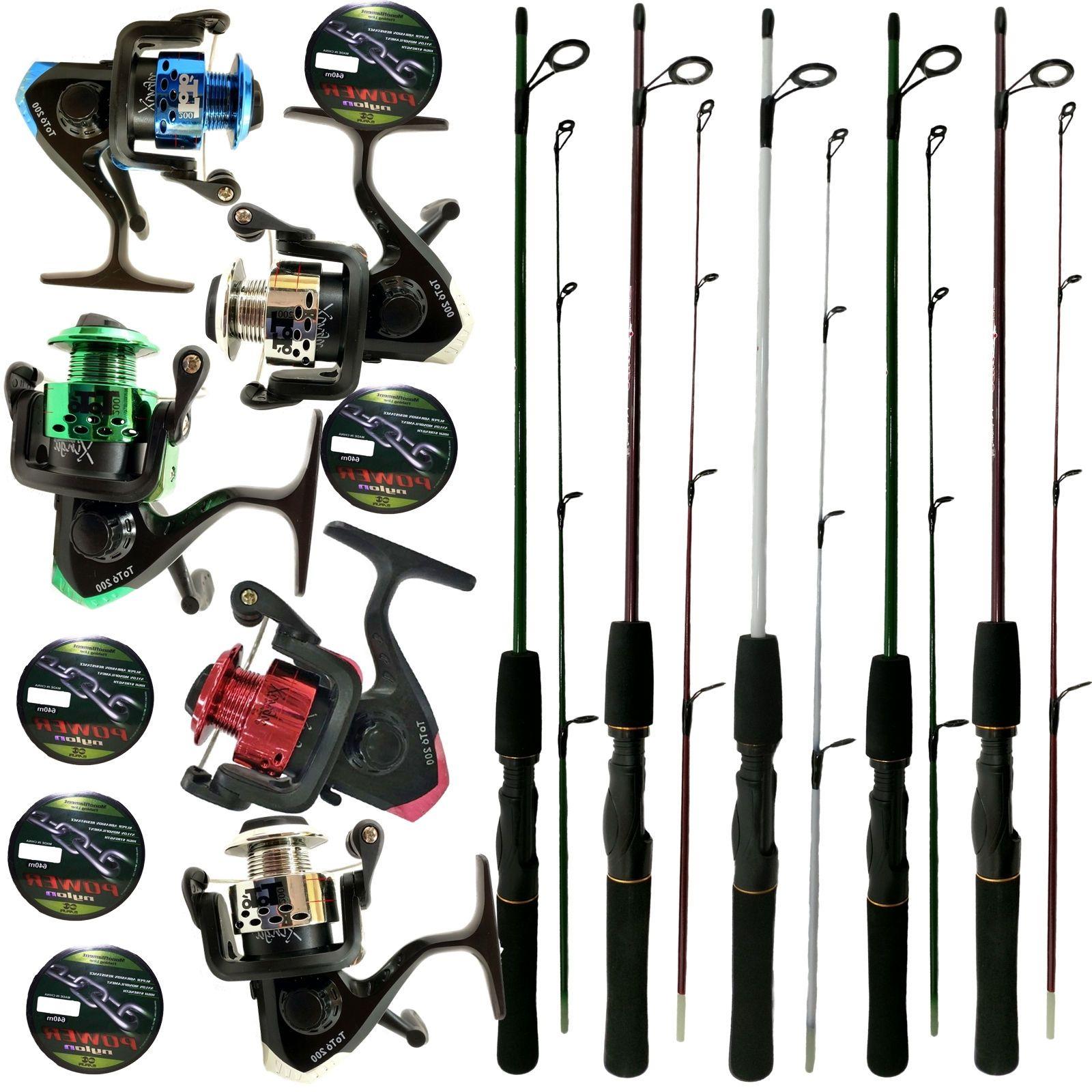 Kit Pesca 5 Molinetes C/ Linha E 5 Varas 1,20m Oferta Barato