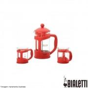 Conjunto Cafeteira Francesa 800 ml + 2 Canecas 200 ml Vermelhas - Bialetti