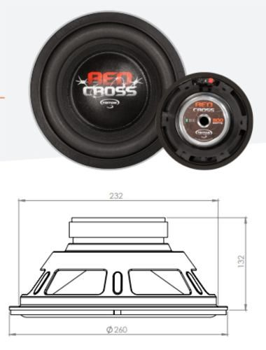 Sub Woofer Triton Red Cross 10 Polegadas 500 Rms 4 Ohms
