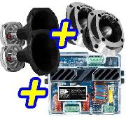 Kit Trio 2 Tweeter + 2 Driver Ultravox + Amplificador Banda 250.2