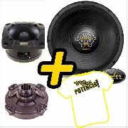 Kit Trio Som Woofer Kaos 15 Pol 550w + Driver Tweeter Spyder
