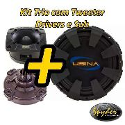 Kit Trio Som Subwoofer Usina 12 350w + Driver+tweeter Spyder