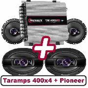 Taramps Ts400x4 + Kit Pioneer De 6 Triaxial E 69 Quadriaxial