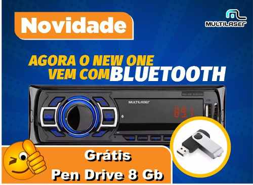Mp3 Multilaser New One Bluetooth Usb + Gratis Pendrive 8gb