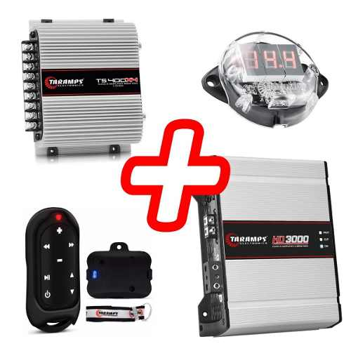 Kit Amplificador Taramps Ts 400 Hd 3000 Controle Voltimetro
