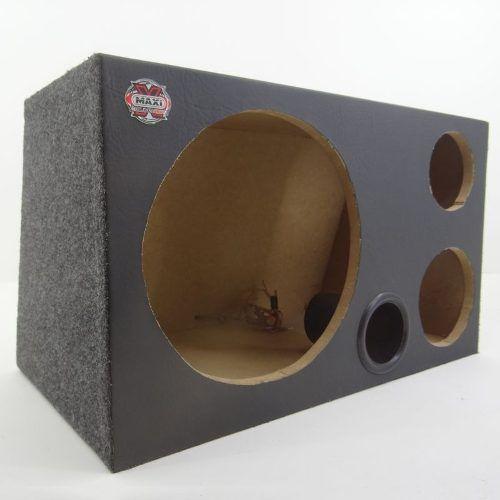 Caixa De Som Trio Para Subwoofer Dutada Com Duto Fiação Plug
