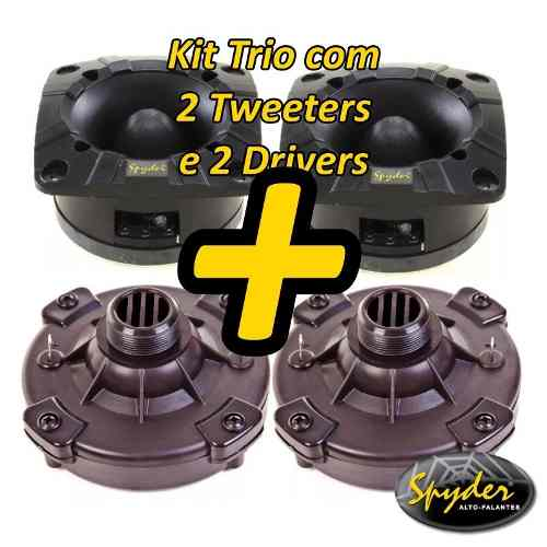 Kit Com 2 Super Tweeter E 2 Driver Spyder 200 Pro100w Rms