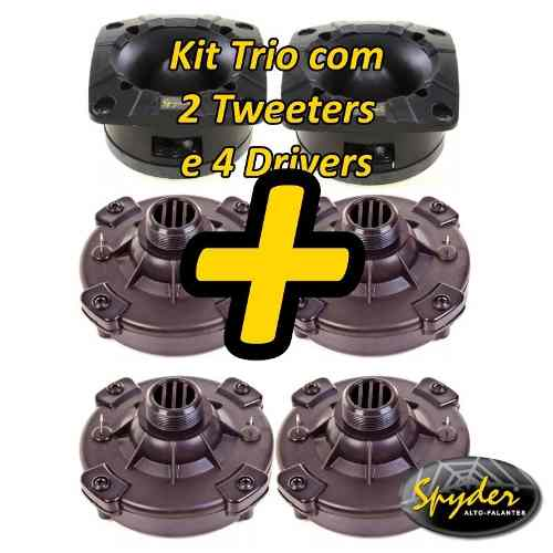 Kit Com 2 Super Tweeter E 4 Driver Spyder 200 Pro100w Rms