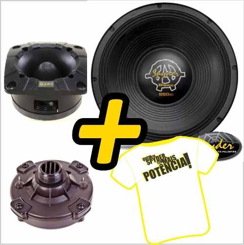 Kit Trio Som Woofer Kaos 12 Pol 550w + Driver Tweeter Spyder
