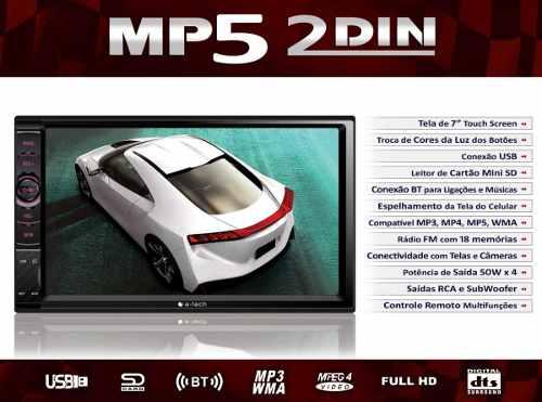 Central Multimidia Universal Mp5 Com Espelhamento E-tech 7