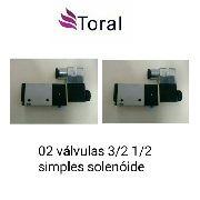 Kit 02 Valvulas Simples Solenoide 3/2 Rosca 1/2