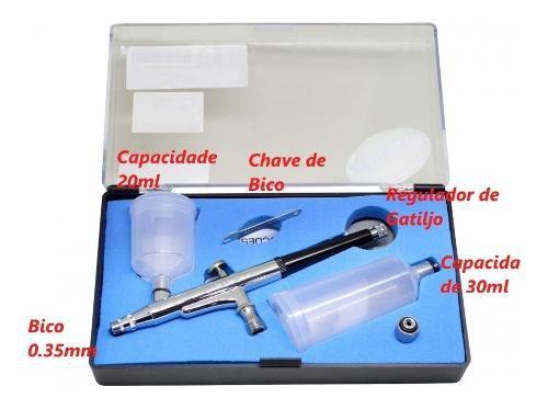 Mini Compressor Bivolt Comp3+aerógrafo Mp-1004+mini Filtro