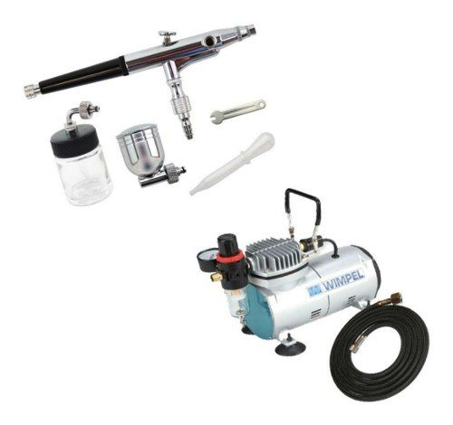 Kit Aerografia Compressor Comp1 Bivolt E Aerógrafo Mp-1003