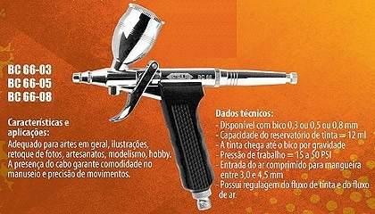 Aerógrafo Dupla Ação Mini Pistola Steula Bc66 Bico 0.3 Mm
