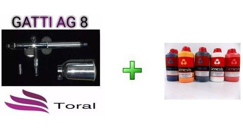 Aerógrafo Gatti Ag-8 E Kit De Tinta 5 Litros Para Aerografia