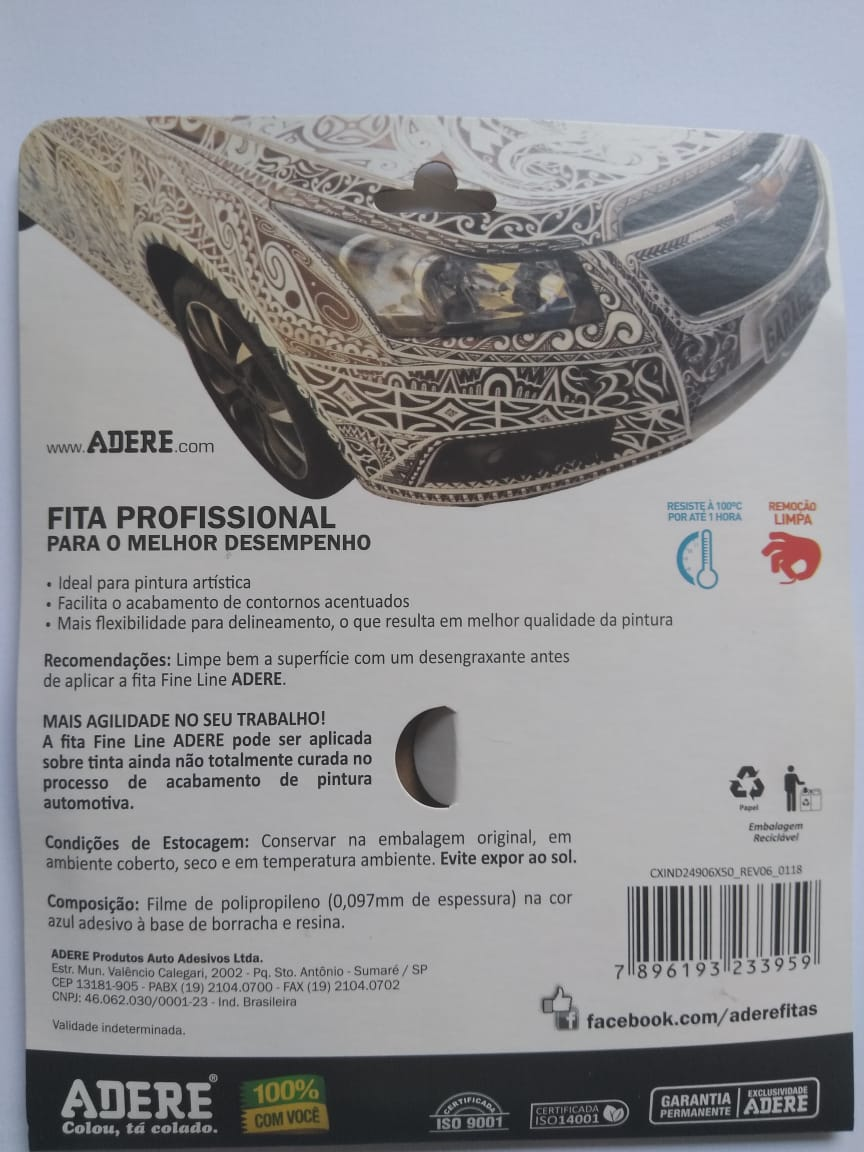 Fita Filete Fine Line Automotiva Azul 6mm x 50m Adere