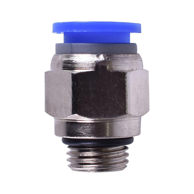Kit com 10 Conexões Pneumáticas Engate Rápido 1/4 BSP X Tubo 8 mm