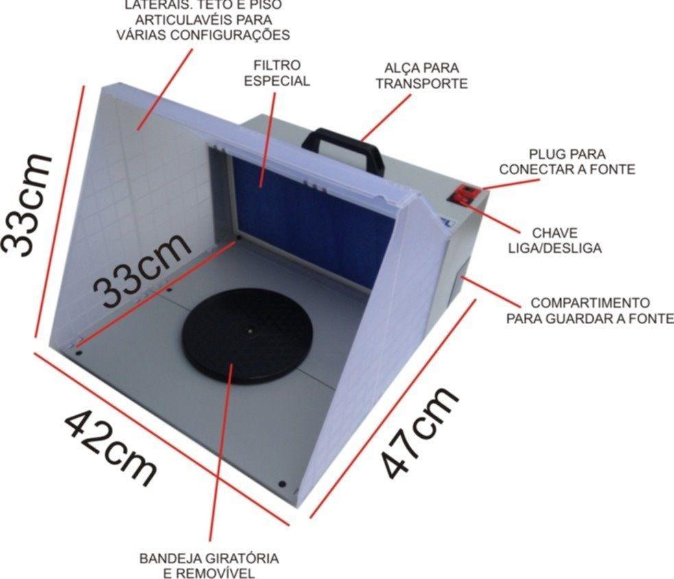 Mini Cabine para Aerografia Bivolt com Luz de LED e Exaustor WIMPEL