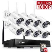 Zosi 8Ch Cctv  Wireless 1080P Hd Nvr 8Pcs 2.0Mp Ir Outdoor
