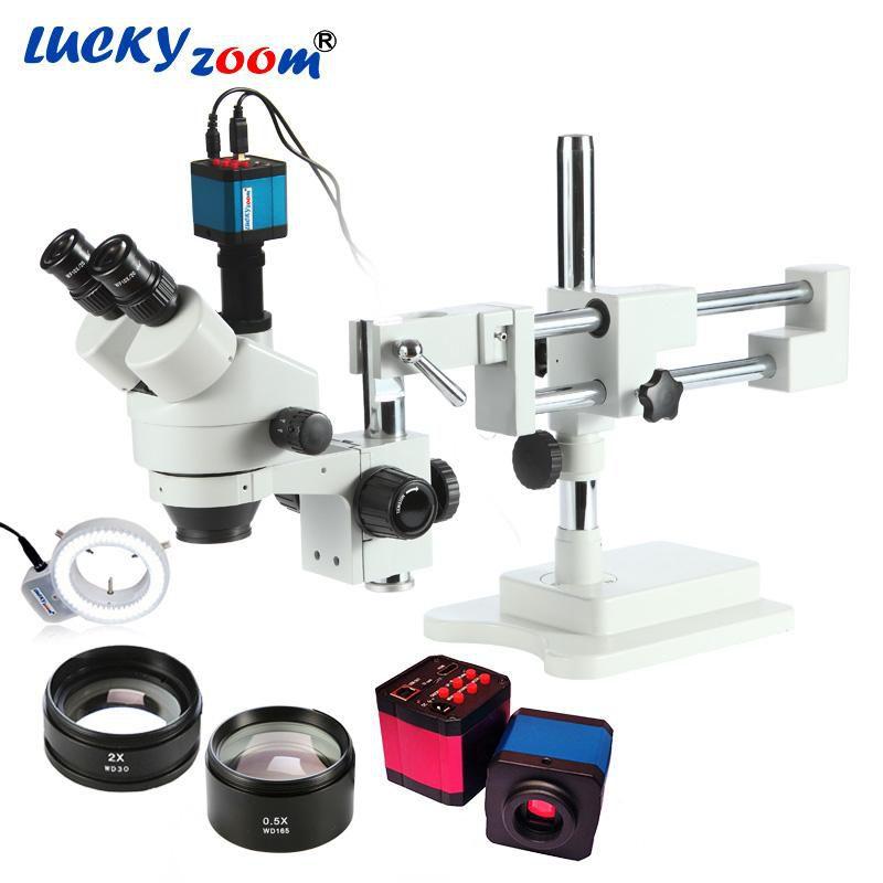 Microscópio Trinocular Zoom 3.5X-90X! +14Mp Camera + 144 Pcs