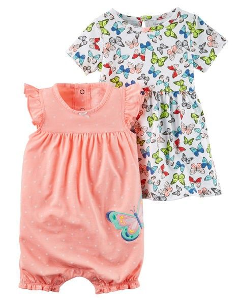 2d9c7eb03 Combo Romper e Vestido Borboletas Carter's - Mamy e Kids