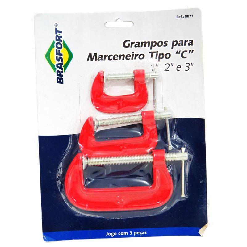 """Kit de Grampo Tipo """"C"""" Leve 3 peças  - Tambory Online"""