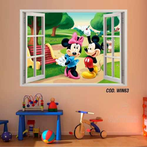 Adesivo Parede Janela 3D Mickey Minie #04