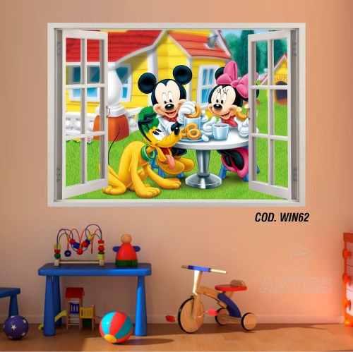 Adesivo Parede Janela 3D Mickey Minie #05