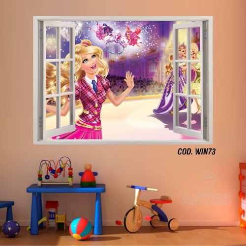 Adesivo Parede Janela 3D Barbie Princesa mod01