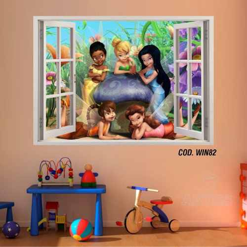 Adesivo Parede Janela 3D Fada Tinker Bell mod01