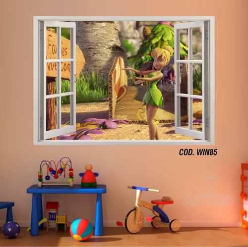 Adesivo Parede Janela 3D Fada Tinker Bell mod03